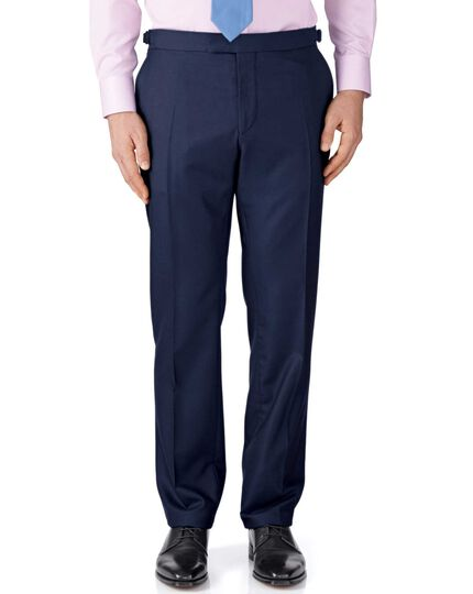 Navy classic fit British Panama luxury suit trousers