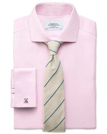Slim fit spread collar non-iron herringbone light pink shirt