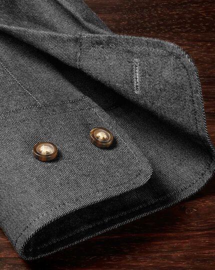 Classic fit non-iron twill dark grey shirt
