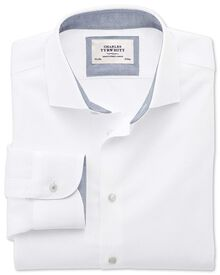 Slim fit semi-spread collar business casual textured white shirt