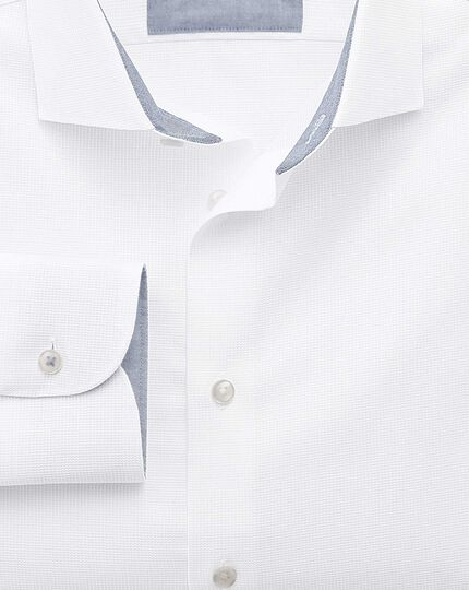 Extra slim fit semi-spread collar business casual textured white shirt