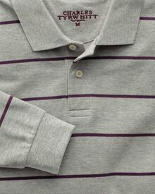 Grey and purple stripe pique long sleeve polo