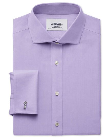 Slim fit spread collar non-iron twill lilac shirt