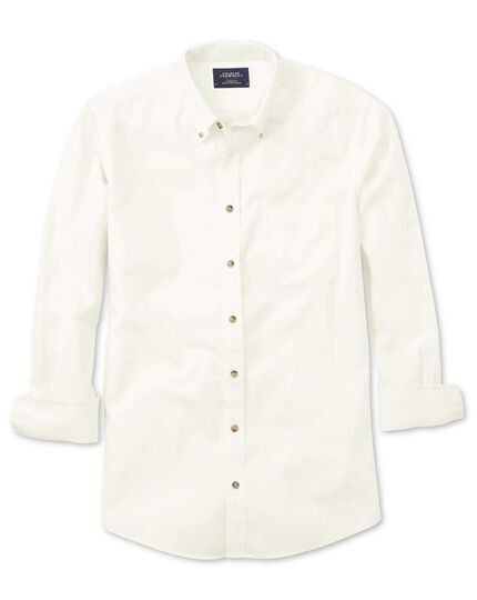 Extra slim fit non-iron twill off-white plain shirt