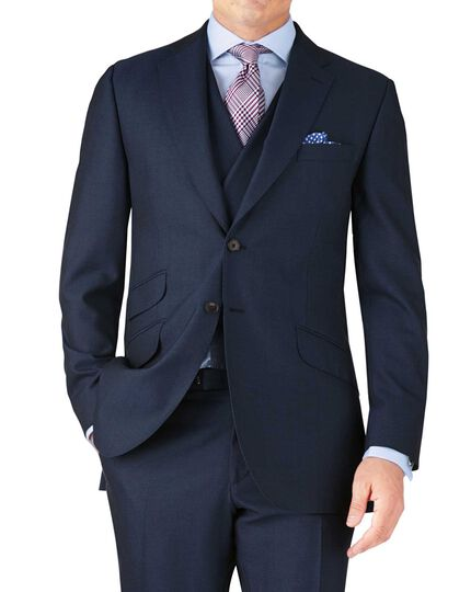 Blue classic fit British Panama luxury suit jacket