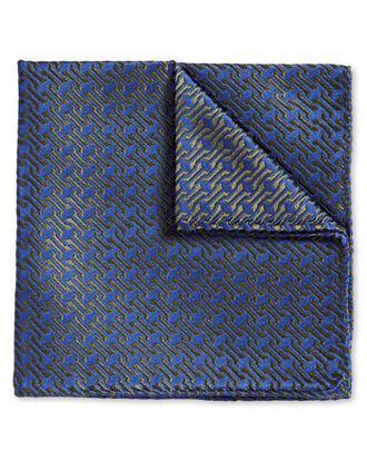 Blue and olive retro geometrics luxury pocket square