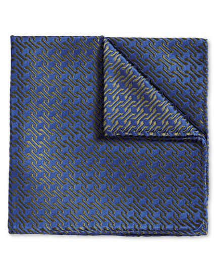 Blue and olive retro geometrics luxury pocket square