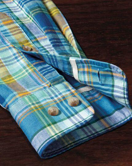 Slim Fit Hemd in Grün und Blau mit Karos