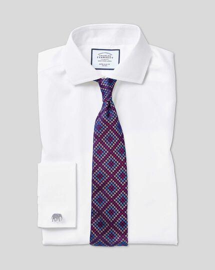 Chemise blanche en twill coupe droite à col cutaway sans repassage