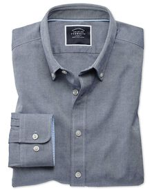 Extra slim fit denim blue plain washed Oxford shirt