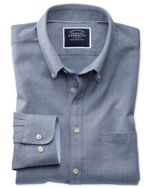 Slim fit denim blue plain washed Oxford shirt