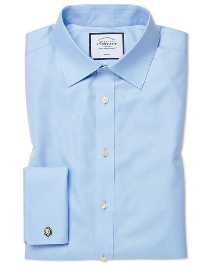 Chemise bleu ciel en twill coupe droite sans repassage