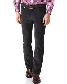 Charcoal slim fit stretch 5 pocket needle cord pants