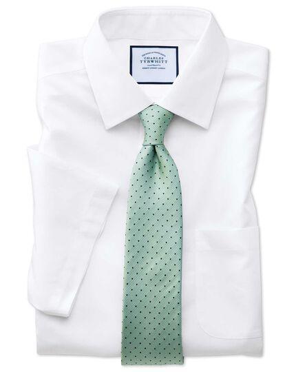 Slim fit non-iron poplin short sleeve white shirt
