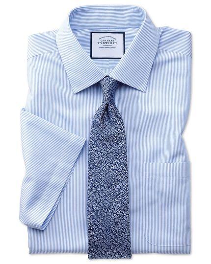 Slim fit non-iron Bengal stripe short sleeve sky shirt