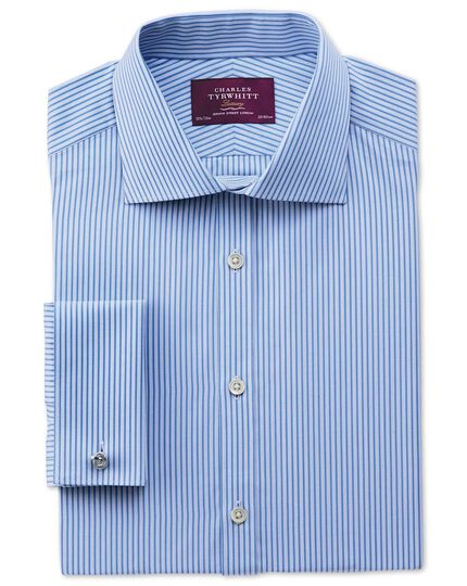Slim fit semi-spread collar luxury poplin stripe sky blue shirt
