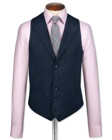 Navy saxony business suit vest