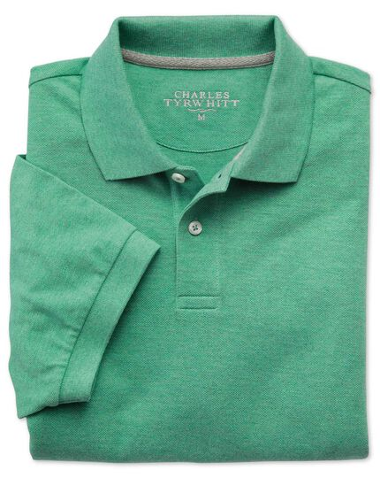 Light green pique polo