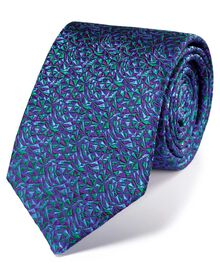 Purple and green multi silk luxury English geometric tie