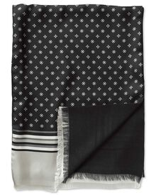 Black geometric silk scarf
