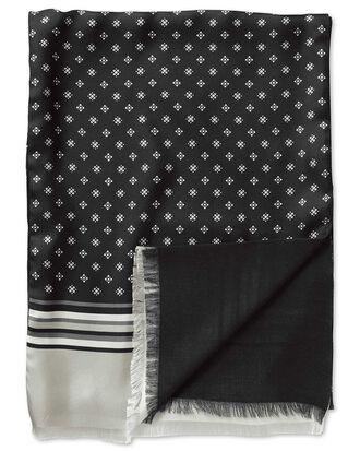 Black geometric silk scarf