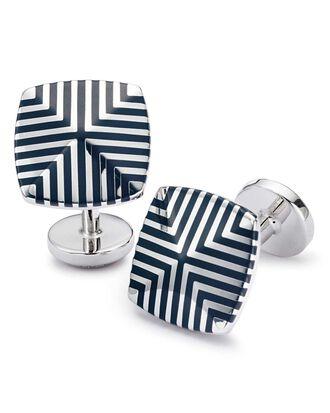 Navy enamel geometric square cuff links