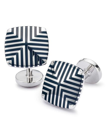 Navy enamel geometric square cuff links
