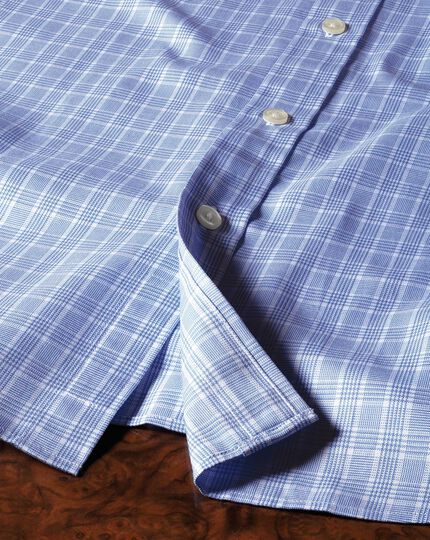Slim fit Prince of Wales basketweave sky blue shirt