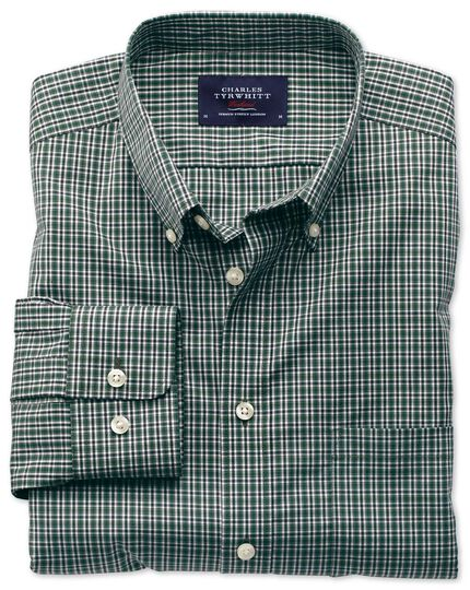 Extra slim fit non-iron poplin green and blue check shirt