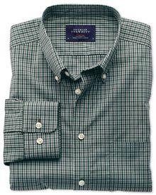 Slim fit non-iron poplin green and blue check shirt