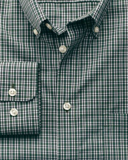 Slim fit non-iron poplin green and blue check shirt