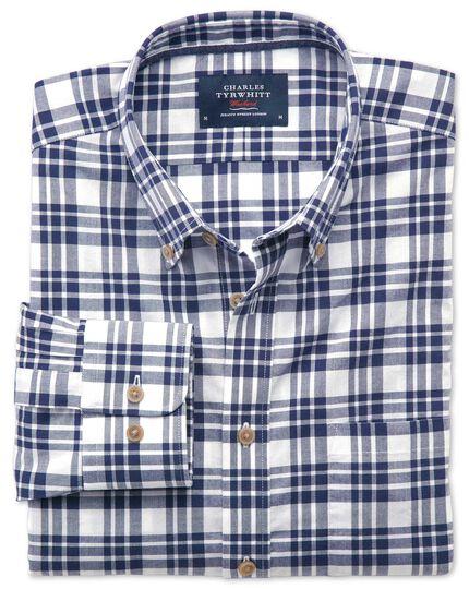 Classic fit poplin navy check shirt
