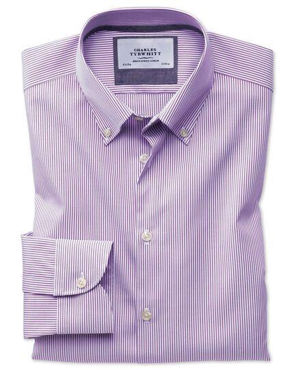 Bügelfreies Classic Fit Business-Casual Hemd mit Button-down Kragen in Veilchenblau mit Streifen