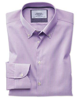 Slim fit button-down business casual non-iron violet stripe shirt