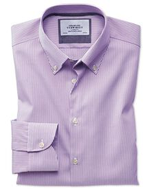 Extra slim fit button-down business casual non-iron violet stripe shirt