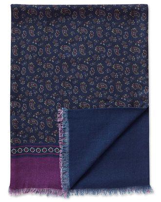 Navy paisley wool scarf