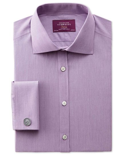 Slim fit semi-cutaway collar luxury poplin lilac shirt