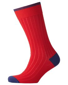 Red ribbed socks