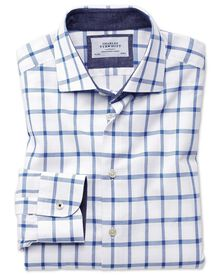 Slim fit business casual semi-spread collar textured check white and blue shirt