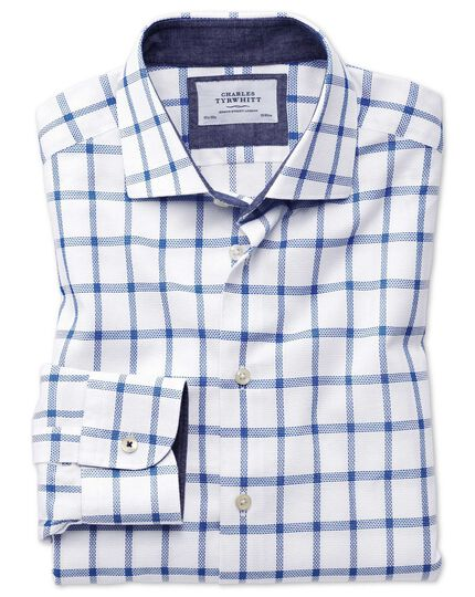 Slim fit semi-cutaway business casual textured check white and blue shirt