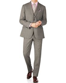 Grey Prince of Wales check classic fit Panama business suit