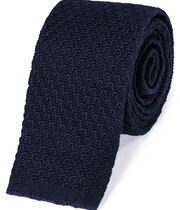 Navy wool slim knitted classic tie