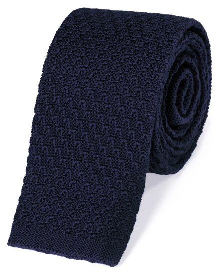 Schmale klassische Strickkrawatte aus Wolle in Marineblau