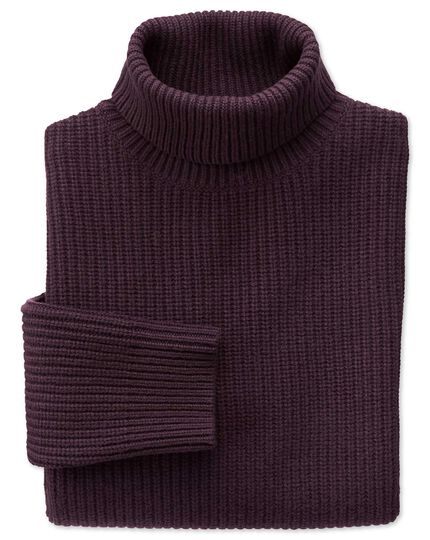 Wine rib roll neck jumper