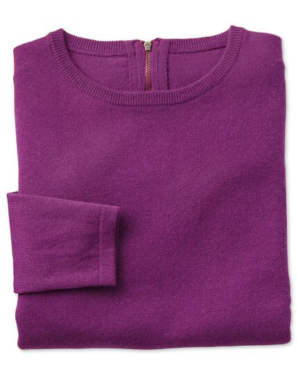Purple merino cashmere zip back sweater