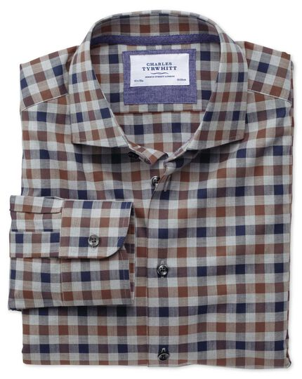 Classic fit semi-cutaway collar business casual melange navy and brown check shirt