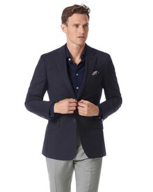Slim fit navy wool blazer