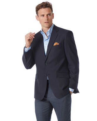 Classic fit navy wool blazer