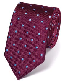 Berry and sky silk spot classic tie