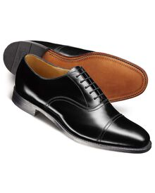 Black Carlton toe cap Oxford shoes